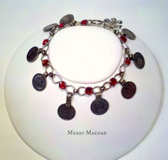Tribal belly dance upper armlet / anklet with red rhinestones and Kuchi coins. OOAK ethnic jewelry.