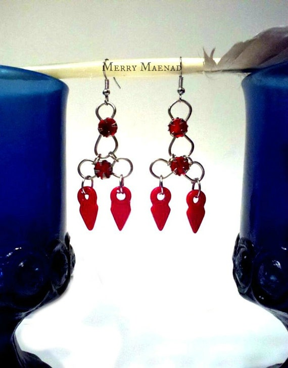 Red talhakimt chandelier earrings. Tribal fusion belly dance, ethnic jewelry. OOAK