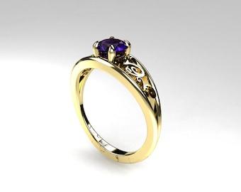 Tanzanite ring, white gold, yellow gold, tanzanite engagement, filigree ring, wedding ring, purple, unique