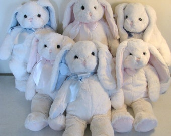 Personalized Stuffed Bunny - Great Easter Gift - Pink or Blue - New Baby Gift