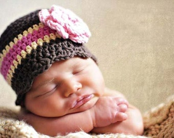 Baby Girl Hat 0 to 3 Month Brown Baby Hat Baby Girl Clothes Baby Shower Gift Flower Hat Baby Beanie Baby Girl Beanie Cream Pink Photo Prop