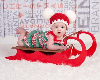 Christmas Baby Santa Hat 3 to 6 Month Baby Hat Baby Girl Hat Baby Boy Hat Christmas Hat Christmas Photo Prop Photography Prop Red White