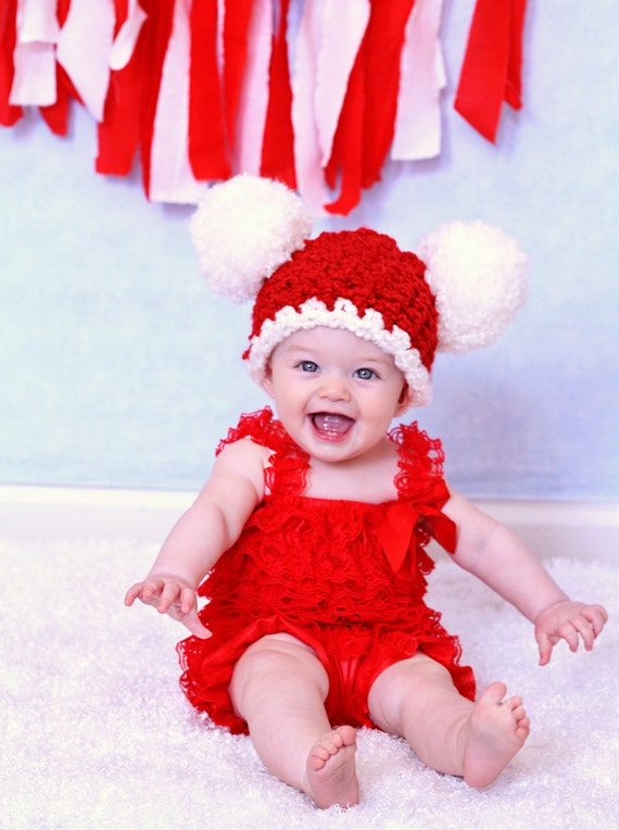 Christmas Baby Hat 6 To 9 Month Baby Santa Hat Baby Girl Hat