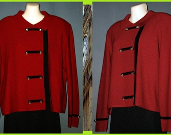 Red knit Top / Blouse Vintage 80s  -Castlebrook-  Military-styling with Black trim & Gold buttons  sz 14P