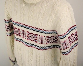 Vtg 60s - 70s White Wool blend UNISEX Pullover SWEATER - Jumper by Jantzen - vintage Large