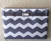 Gray and white chevron Fabric Wall Pockets with one pocket / mail organizer, magazine holder, file folder organizer