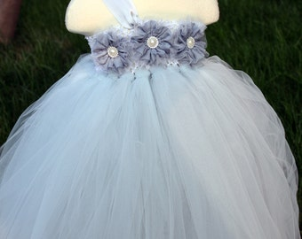 Flower Girl Dress Grey tutu dress baby dress toddler birthday dress wedding dress newborn 2T 3T 4T 5T 6T-7T 8T 9T