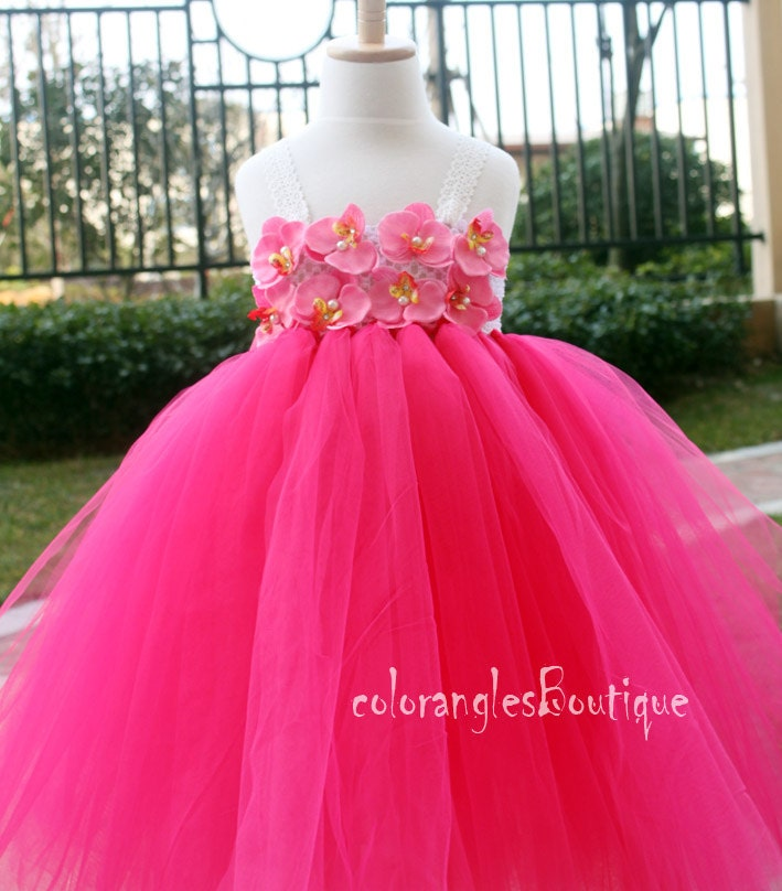 Hot pink Flower Girl Dress Girls Tutu dress toddler birthday