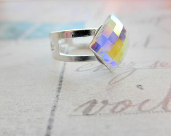 Silver Tone Adjustable Faceted AB Chessboard Diamond Shaped Crystal Ring
