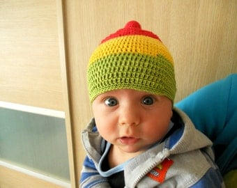 Baby Crochet hat Summer hat for baby Colorful bright hat Striped hat Unisex baby hat Baby shower gift