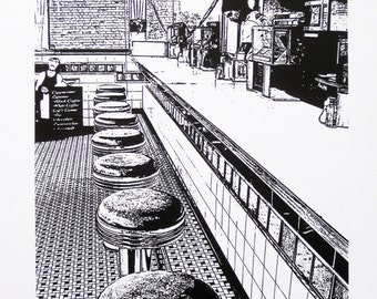London - Fatboy's Diner - limited edition screenprint