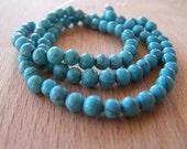 50 x Turquoise 4mm Round Beads