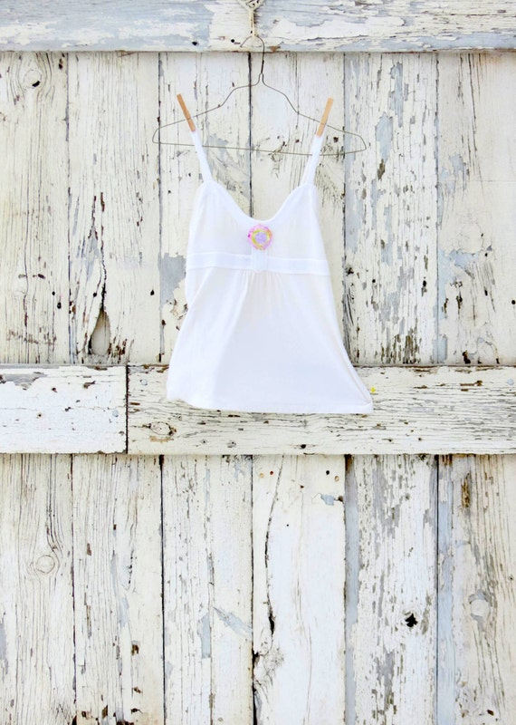 Snow White Babydoll Tank Top upcycled white cream velour banana republic tank eco friendly white summer spring