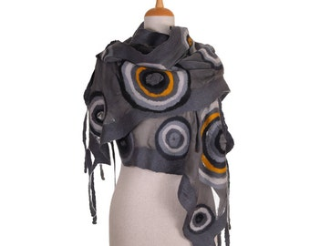 SALE!!! nuno felted eco scarf, gray and soothe circles silk felt wool nuno felted scarf, felted artistic wrap shawl, felted wool scarf