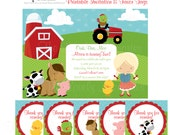 Girl Farm Barnyard Theme Birthday -Personalized Printable File