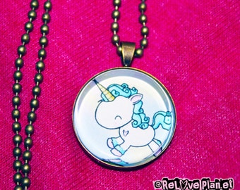 "Prancing Unicorn 1"" Pendant Necklace - or 2 for 20 - Happy Kawaii Unicorn Magic Fluffy - ReLove Plan.et"