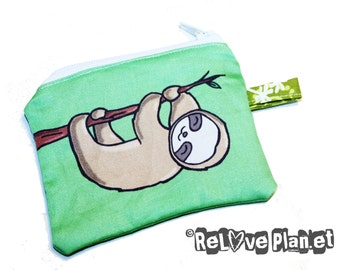 Happy Sloth Mini Zipper Purse Pouch - Coin Wallet - tree sloth - ReLove Plan.et