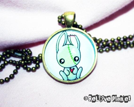 "Cute Zombie Bunny 1"" Pendant Necklace - or 2 for 20 - Positive Kawaii Creepy Cute - ReLove Plan.et"