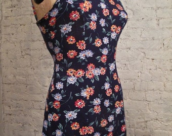 Grunge Dress - 80s/90s - Blue Floral Print Sundress