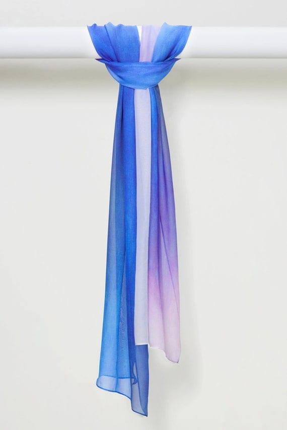 Handmade Silk Chiffon Shawl in Zen Dreams Blues by LOUIS JANE