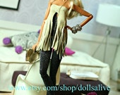 fashion royalty, barbie,fringed leather outfit, leather doll shoes