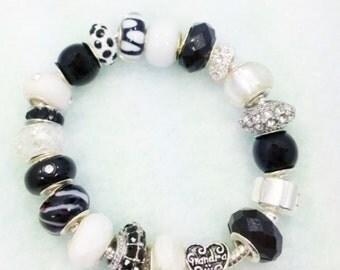 Black White Grandma European style charm bracelet