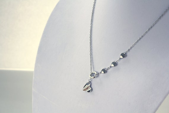 Lariat Chain Necklace Earrings Set - Silver Tone Hearts - Mother's Day Gift