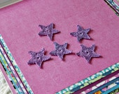5 Handmade Lavender Crochet Star Applique Embellishments for Scrapbooking, Clothing, Accessories, Home Decor