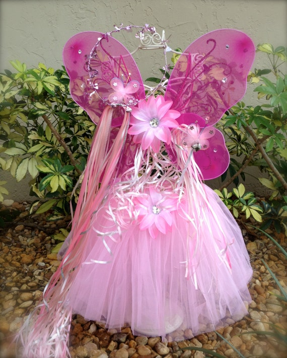 Fairy Princess Ballet Tutus- Dress Up Dance Dark Pink Wings, Halo. Wand with light pink tutu party favors