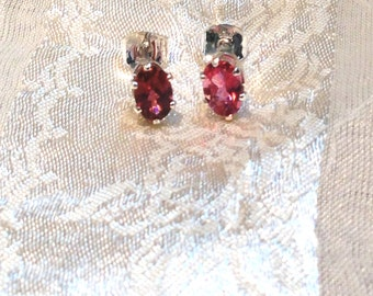 Pink Tourmaline Earrings in Sterling Silver Handmade Jewelry by NorthCoastCottage Jewelry Design & Vintage Treasures