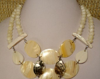 Shell & Pearl Bib Necklace