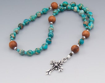 Christian Rosary - Turquoise Blue Magnesite Gemstones - Natural Wood - Anglican Prayer Beads - Item # 751