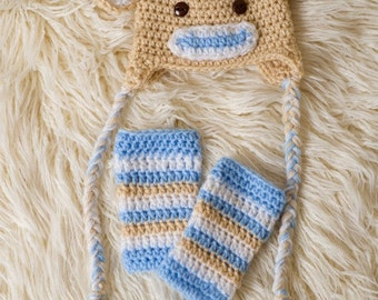 Newborn/Baby/Blue Sock Monkey Hat and Legging Set/Baby Photo Prop