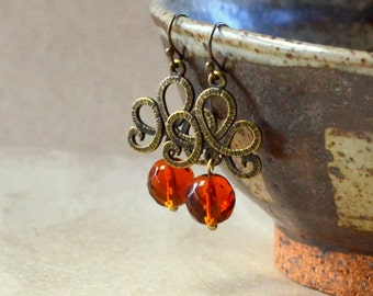 Amber Faceted Dangle Earrings Antique Bronze Tuscany Ribbon Scrolls Old World Rust Earth Tones Beads Dangles Fashion Jewelry Free Shipping