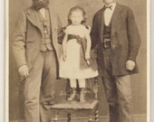 Victorian antique CDV photograph of two men with little girl, Wales