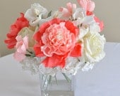 2014 wedding trends, centerpiece, Coral paper flowers, Coral peony, pastel coral sweetpea, white tulips, white hydrangea