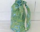Drawstring Knitting Project Bag - small project bag - Green Paisley print