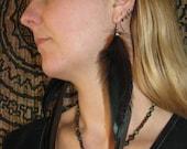 Long Feather Earrings - Green/Black - Women/Girls - Hippie/Bohemian