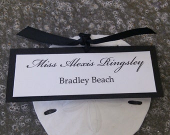 PLACE CARD with Sand Dollar -  Beach Wedding Double Layer Placecard or Beach Party Escort Card - You Personalize Names and Colors