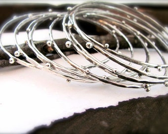 Silver Artisan Hammered Bangle Set of Three Handcrafted