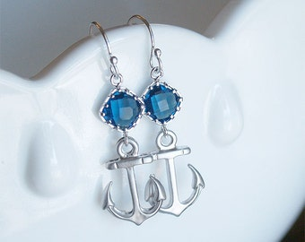Anchor Earrings - Nautical Dangle Earrings - Sterling Silver Earwire - Navy Stone - Silver Anchor Earrings - Nautical Jewelry