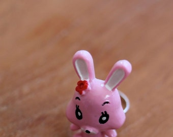 Large Baby Pink Bunny Ring - Kawaii, Fairy Kei, Kitsch, Lolita