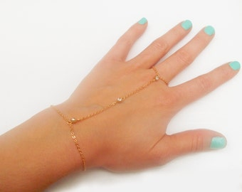 Gold Filled or Plated Slave Bracelet with 3 Swarovski Rhinestone Accents - 3 Stone Gold Hand Chain
