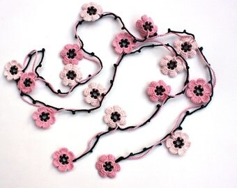 CHERRY BLOSSOM: Crochet Necklace, Sugar Pink and Pale Pink Lariat Necklace, Open End Necklace, OYA necklace, Bridesmaids gift