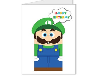 Get 10% OFF - Children Kid Happy Birthday Card- Nintendo Super Mario Luigi Video Game Superhero Custom Blank Card - Special 2016 SALE