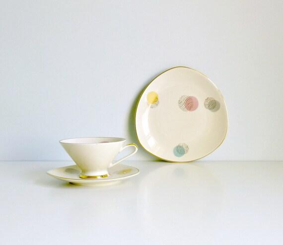 deco afternoon tea china trio pastel spots by mungoandmidge