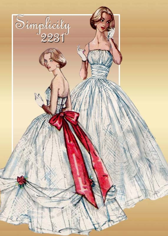 1950s Dress and Gown Pattern Vintage Simplicity 2231 Cinderella Prom Gown with Voluminous Overskirt Unused Pattern