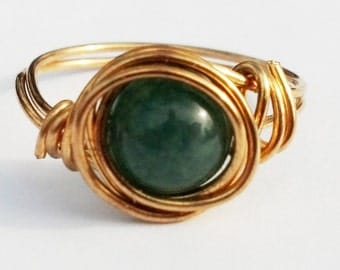 green aventurine and brass ring - made to order in your size