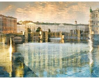City landscape print, Architectural art photography, St Petersburg european City, large wall art, blue gold watercolor living room, 24x36