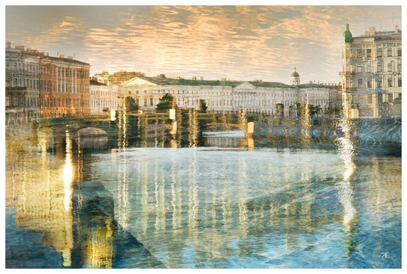 City landscape, Architectural art photography, St. Petersburg european City, large wall art print, blue gold watercolor living room, 24x36